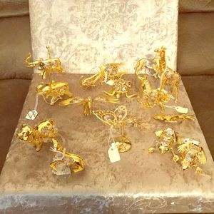 Gold and Crystal Animal Decor Figures